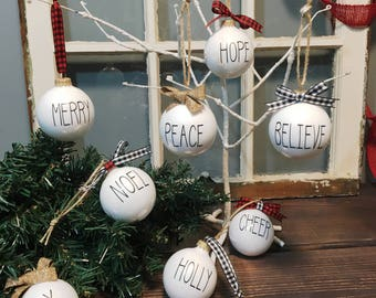 Rae Dunn Inspired, farm house White Ornament