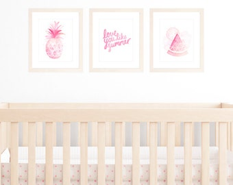Nursery Art for Baby Girl, Set of 3 A4/8x10 Art Prints, Summer Theme with Tropical Fruit including Pineapple, Watermelon and Summer Quote