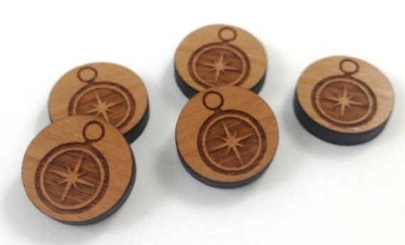 Laser Cut Supplies-8 Pieces.Compass Charms - Laser Cut Wood -Earring Supplies- Little Laser Lab Sustainable Wood Products
