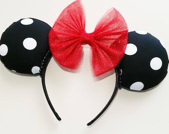 Black and White Polka Dot Minnie Mouse Ears, Mickey Ears