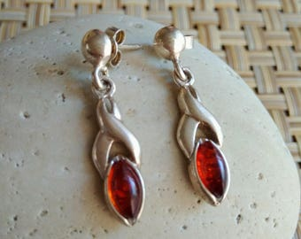 Red Wine color Baltic Amber Earring