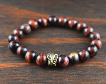 Men's Red Tiger Eye Bracelet. Elephant Bracelet. Men's Beaded Bracelet. Men's Yoga Bracelet. Men's Fashion Bracelet. Lotus & Lava Bracelet.
