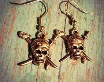 Pirate Skull earrings, charm earrings, dangle earrings, pirate jewelry