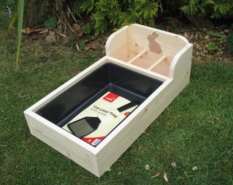 Rabbit Hay Feeder/Feeding Trough with Tray (Larger Size)