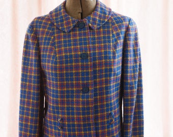 Vintage Plaid Blazer - Jacket Coat Rounded Collar Wool 60s 70s