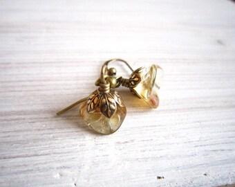 Fleur Posy Drop Earrings in Champagne and Brass