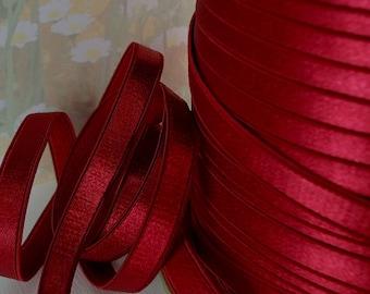 3yds Satin Elastic Trim Shiny Deep Red Ruby 3/8 inch diy Bra Elastic Lingerie Trim Headbands Sewing Projects