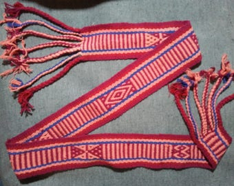 Peach and Cranberry Colored Woven Tarahumara Belt