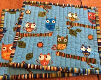Owls on a Whim Snack Mats/Mug Rug - Set of 2 - Quilted - Quiltsy Handmade