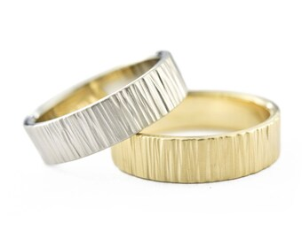 His and His Wedding Band Set, 6mm 14K Gold Birch Wedding Ring Set, 14K Gold Wedding Bands for Him & Him