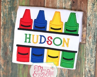 Crayon Shirt, Custom Crayon Shirt, Boys Crayon Shirt, Back to School Shirt, School Shirt, Girls Crayon Shirt, Custom School Shirt