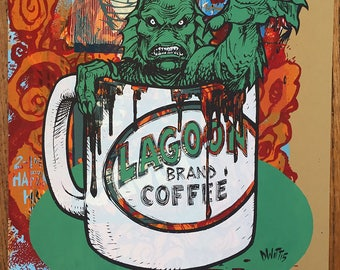 Crweature from Black Lagoon Coffee one of a kind testprint