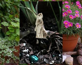 Fairy garden Persephone, a small wooden Kore figure to grace your miniature garden, bonsai or indoor planter