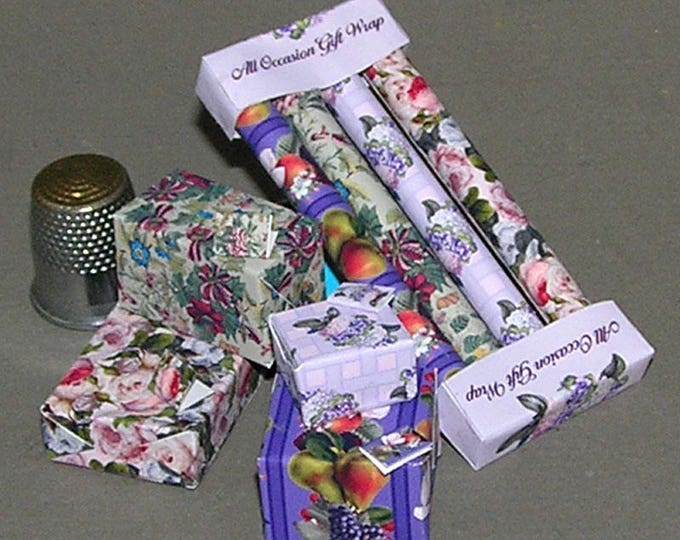 Wrapping paper, gift wrap, Paperminis, Bastelkit of paper in miniature for the doll's room, the doll house, Dollhouse Miniatures