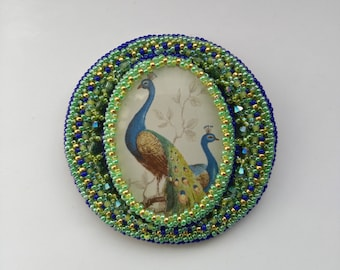 Beadwoven Peacock Statement Brooch . Glass Cabochon Peacock Pin . Green Blue Golden Bird Pendant - OOAK Peacock by enchantedbeads on Etsy