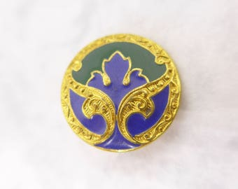 Vintage Two Colour Blue Green  Champleve Enamel Button