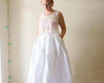 White Wedding Maxi Skirt, Silk Shantung High Waist Long Evening Skirt Pleats Pockets, Customize color and length, Plus sizes