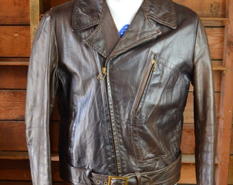 Vintage 1940's brown glove tanned, motorcycle, aviator jacket with artwork