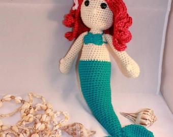 Mermaid Doll Stuffed Animal Toy - Custom Crochet Mermaid Amigurumi - Baby Girl Gift - Baby Shower Gift - Baby Nursery Decor - Ariel Mermaid