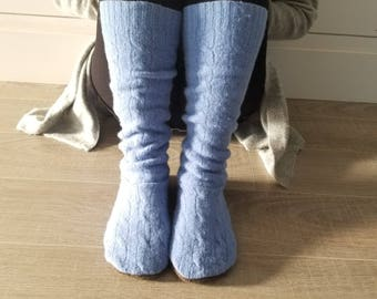 "Warm Wool Sweater Socks // Size 5-8 shoe, 17"" Tall // Cabin Socks // Thick felted wool sole // Blue Cable Knit"