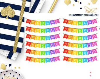 Set of 12! Weekend Banner Planner Stickers! - Set # 1 AE102