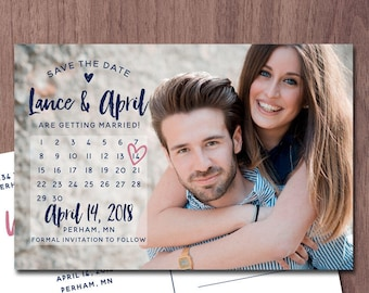Calendar Save the Date Photo Card Photo POSTCARD Wedding Invitation Save the Date Announcement Modern Card Save Our Date Save the Dates