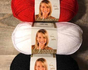 Lion Brand Vanna's Choice Yarn Scarlet Acrylic Yarn Red Black White Yarn