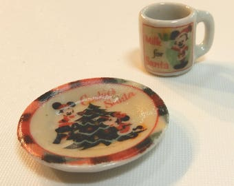 "Miniature Disney ""Cookies for Santa"" plate and matching mug (CER068)"