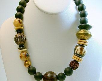 Vintage Tiger Coral Bead Necklace, Vintage Frosted Black Crystal Glass Beads, Vintage Brass Beads- Expresso Safari