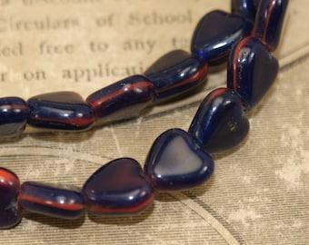 Vintage Glass Heart Beads Garnet Color 88 Beads