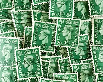 Dark green, used, British, 1 1/2d 1937 King George VI postage stamps all off paper - collage, stamp collecting, scrapbook, styling, crafts