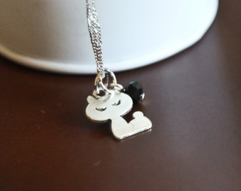 Cat Cut Out Silhouette Necklace- Charm Jewelry- .925 Sterling Silver or Silver Tone Chain- Kitty - Swarovski birthstone Crystal