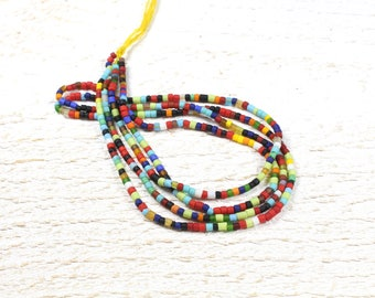 20 small glass beads multicolor from Afghanistan +/-1 to 2 x 2mm