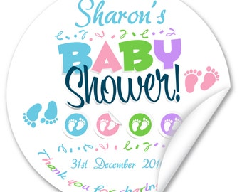 Personalised Baby Shower Stickers / Seals, Full Colour Gloss 38mm, Boy or Girl - V1