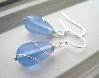 Light Blue Earrings - Light Blue Jewelry - Sea Glass Earrings - Cultured Sea Glass Jewelry - Sky  Blue Earrings - Beach Jewelry