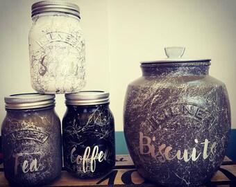 Kilner marble tea coffee sugar biscuit cookie jar set kitchen decor canisters