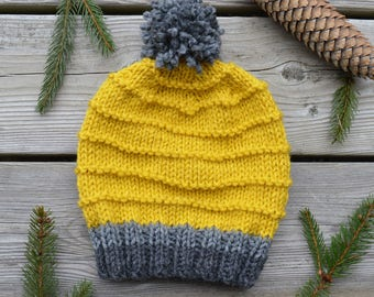 Women's Hand Knit Striped Hat in Yellow & Grey
