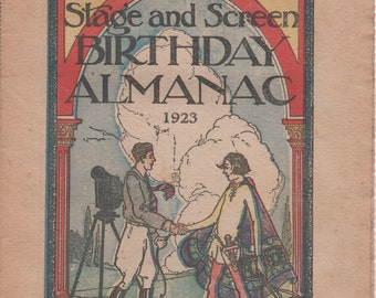 Boston Sunday Post Foldout Stage and Screen Birthday Almanac 1923, good shape, uncut