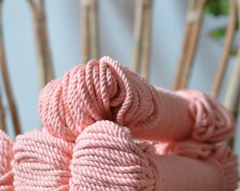 Macrame peach cord, cotton rope, macrame rope, cotton cord 5 mm, macrame cord, 5mm cotton twisted rope, cotton rope macrame, diy rope