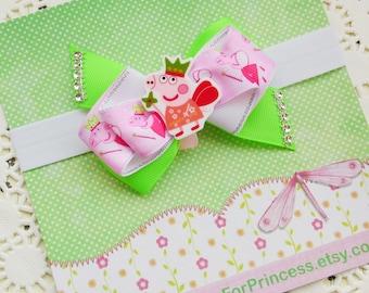 Peppa pig bow Peppa pig birthday Peppa pig hair bow Peppa bow Disney junior bow Girl hair bow Peppa pig gift Peppa birthday bow Toddler bow