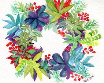 Original Succulents Wreath watercolor painting, 5 x 7  succulent watercolor, succulent wall art painting SharonFosterArt Farmhouse Decor