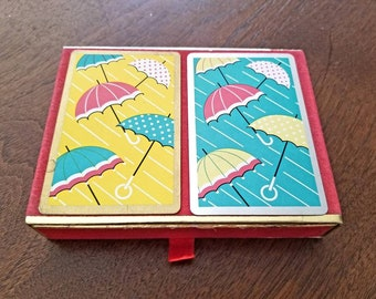 Vintage Congress Umbrella playing cards 2 decks