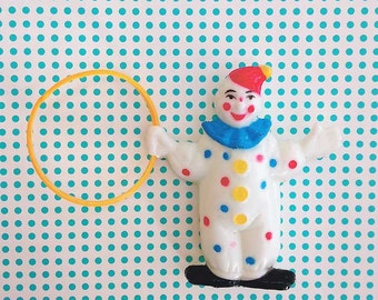 Vintage Clown Cake Topper with Hoop, Big Top Circus Birthday Decor