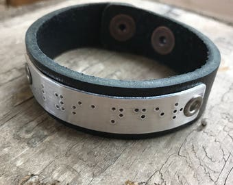 Personalized Braille Mens Bracelet Personalized Men's Leather Bracelet Custom Braille Message
