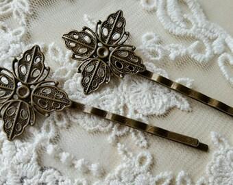 25 mm Handmade Antiqued Bronze Setting Bobby Pins (.ag).