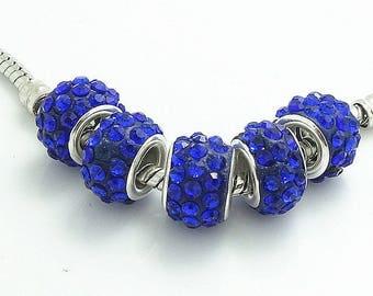 Blue Rhinestone Encrusted European Beads - 10 beads