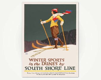 Winter Sports in the Dunes by South Shore Line Poster Print - Illinois Travel Poster Art - Vintage Ski Poster - Chicago Travel Poster