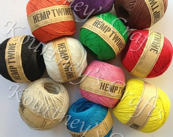 1mm Balls of Hemp Twine Cord 1mm, Multiple dyed colors to choose from 430ft/143yds