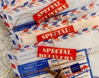 Vintage Par Avion Via Air Postal Mail Labels Mixed Lot
