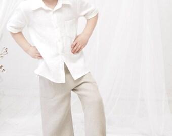 Boys clothes Ring bearer shirt Boys dress shirt Rustic wedding linen shirt White dress shirt Short sleeve shirt Boy Baptism clothes